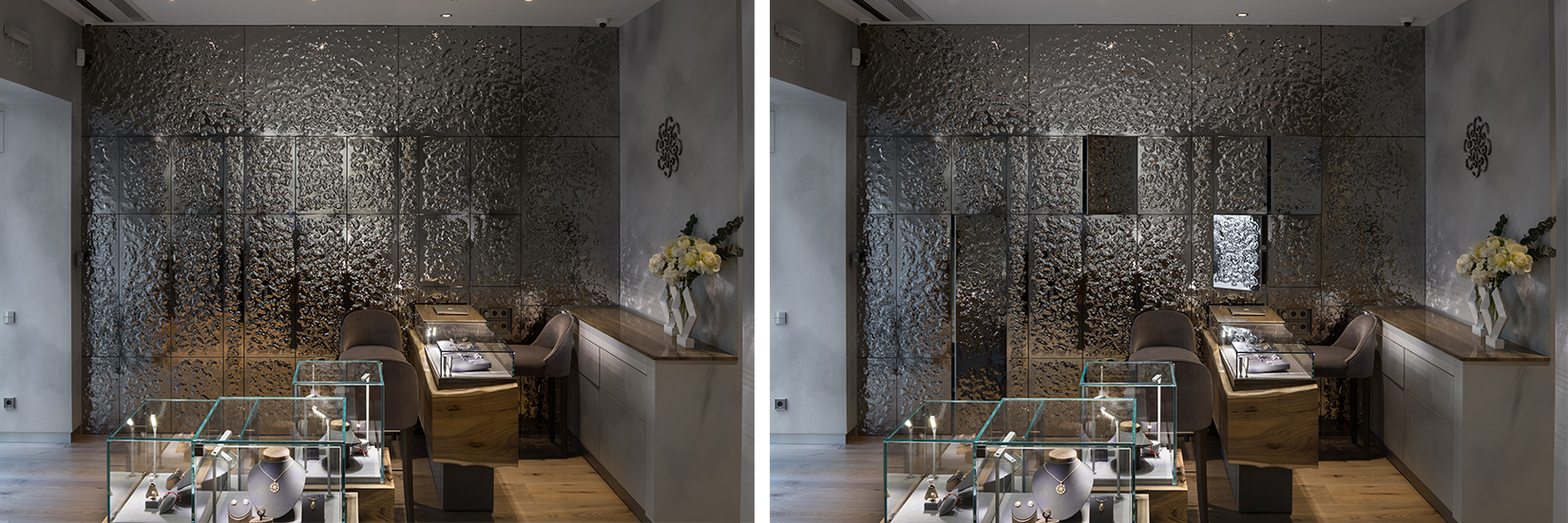 OBERIG JEWELRY  Wall Glass Panels +Object